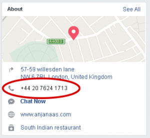 Phone number on facebook