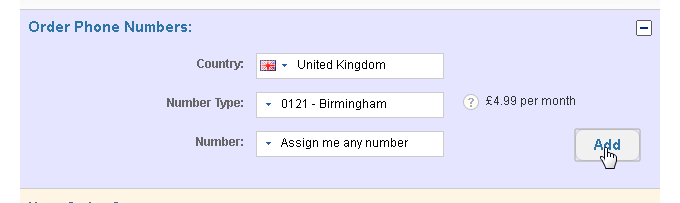 Getting a uk number: step 3b - Select the number needed