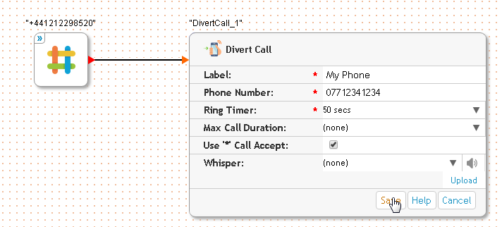 Getting a uk number: step 4e - Fill in the divert phone number